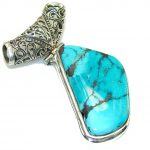 Sleeping Beauty, B-Grade, Tumbled!! Turquoise Sterling Silver Pendant