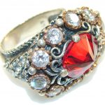 Power Love!! Red Quartz Sterling Silver Ring s. 8