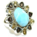 Aura Of Beauty!! Light Blue Larimar Sterling Silver Ring s. 6 1/4