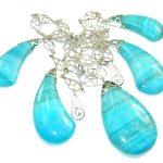 Amazing Sea Blue Rhodochrosite Sterling Silver necklace