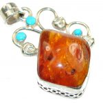 Fantastic Brown Polish Amber Sterling Silver Pendant