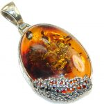 Fabulous Brown Polish Amber Sterling Silver Pendant