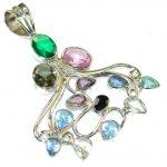 Trade Secret!! Multicolor Quartz Sterling Silver Pendant
