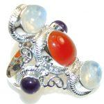Big! Aura Of Beauty!! Orange Carnelian Sterling Silver ring s. 9 1/4