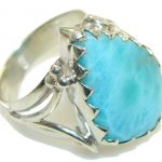 Natural Light Blue Larimar Sterling Silver Ring s. 10