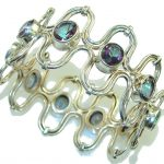 Natural Beauty!! Rainbow Magic Topaz Sterling Silver Bracelet