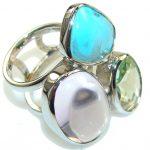 Big! Fabulous Purple Ametrine Sterling Silver ring s. 7 1/4