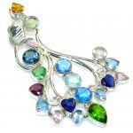 Big! Aura Of Beauty!! Multigem Sterling Silver Pendant