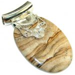 New Life!! Brown Picture Jasper Sterling Silver Pendant