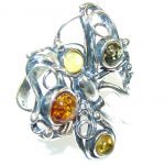 Stylish! Multicolor Polish Amber Sterling Silver Ring s. 6 1/2