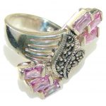 Perfect! Pink Topaz Sterling Silver ring; size 6