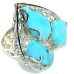 Big!! Secret Light Blue Larimar Sterling Silver Ring s. 10 1/4