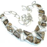 Wild Beauty! Brown Smoky Topaz Sterling Silver necklace