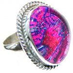 Excellent!! Pink Dichroic Glass Sterling Silver ring s. 8 1/2