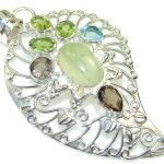 Unusual Green Moss Prehnite Sterling Silver Pendant
