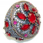 Big! Fabulous Style! Red Ruby Sterling Silver ring s. 9