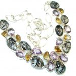 Graet Impression!! Tourmalinated Quartz Sterling Silver necklace