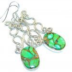 Excellent!! Green Copper Turquoise Sterling Silver earrings