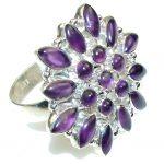 Big! Amazing Purple Amethyst Sterling Silver ring s. 12