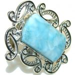 Big! Tropical Glow! Light Blue Larimar Sterling Silver Ring s. 10