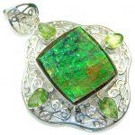 Beautiful! Natural Green Ammolite Sterling Silver Pendant