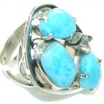Secret!! Light Blue Larimar Sterling Silver Ring s. 10