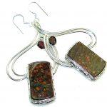 Big! Beautiful Red Ammolite Sterling Silver earrings