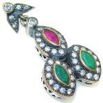 Secret!! Green Emerald, Ruby Sterling Silver Pendant