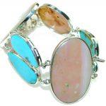 Delicate!! Light Pink Opal Sterling Silver Bracelet