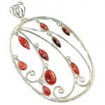 Delicate!! Red Garnet Sterling Silver Pendant