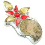 Large! Fashion Ammonite Fossil Sterling Silver Pendant