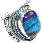 Special Moment! Dichroic Glass Sterling Silver ring s. 8