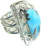 Stunning Design! Light Blue Larimar Sterling Silver Ring s. 10
