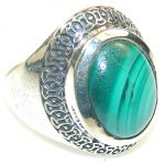 Natural!! Green Malachite Sterling Silver ring s. 10