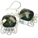 Secret! Created Green Chrome Diopside Quartz Sterling Silver earrings