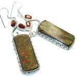 Big! Natural Red Ammolite Sterling Silver earrings