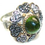 Awesome!! Green Peridot Quartz Sterling Silver Ring s. 8 1/2