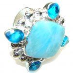 Big! Ocean Light Blue Larimar Sterling Silver Ring s. 12
