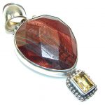 Excellent!! Red Obsidian Sterling Silver Pendant