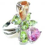 Awesome!! Multicolor Quartz Sterling Silver Ring s. 6 1/4
