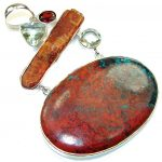 Large! Excellent Red Sonora Jasper Sterling Silver Pendant