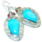 Big! Sleeping Beauty!! Blue Turquoise Sterling Silver earrings