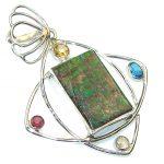 Natural! Multicolor Ammolite Sterling Silver Pendant