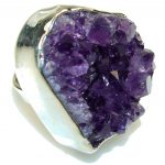 Fashion!! Purple Amethyst Cluster Sterling Silver Ring s. 6