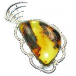 Big!! AAA Natural Polish Amber Sterling Silver Pendant