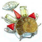 Big! Fashion Ammonite Fossil Sterling Silver Pendant