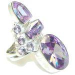 Big! Delicate Lilac Quartz Sterling Silver Ring s. 8 1/4