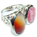 Secret!! Rhodochrosite , Agate Sterling Silver ring s. 8 – Adjustable