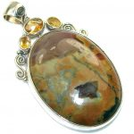 Fabulous!! Brown Rainforest Jasper Sterling Silver Pendant