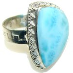 Gentle! Light Blue Larimar Sterling Silver Ring s. 10 1/4